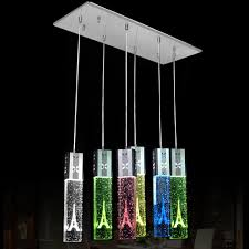 Dining Room Ceiling Lamps Discount Modern Led Oblong Crystal Tube Dining Room Ceiling