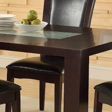 Espresso Dining Room Furniture by Homelegance Lee Dining Table W Crackle Glass Insert In Espresso