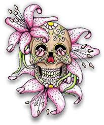 amazon com pink roses sugar skull calavera car decal sticker