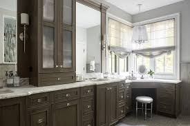Makeup Vanity Bathroom Brown Oak Bathroom Cabinets With Corner Makeup Vanity