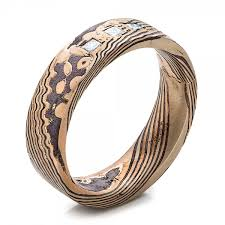 Mens Hunting Wedding Rings by Custom Men U0027s Rose Gold And Mokume Wedding Band 101261