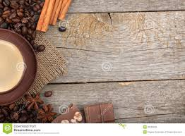 Wooden Table Texture Vector Coffee Cup With Spices And Chocolate On Wooden Table Texture
