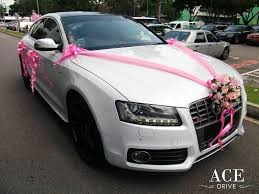 pink luxury cars white audi s5 wedding car decorations by ace drive car rental