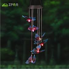 solar powered wind chime light zpaa butterfly led solar panel wind chime nightlight solar powered