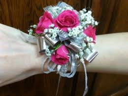 wristlet corsage hot pink and silver wristlet corsage in tillamook or