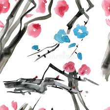 japanese cherry blossom tree seamless watercolor pattern