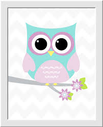 Nursery Owl Decor Baby Nursery Wall Lavender Aqua Teal Elephant Owl Room