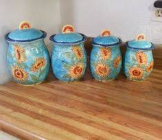 sunflower canister sets kitchen free ship retired sunflower pottery canister set from home