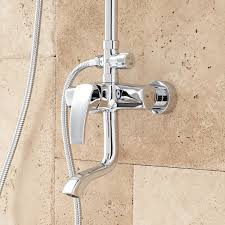 regan exposed pipe tub and shower set with hand shower shower chrome spout detail