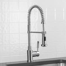 Industrial Kitchen Faucets Adjustable Kitchen Faucet With Sprayer Combined Gray Apron Front
