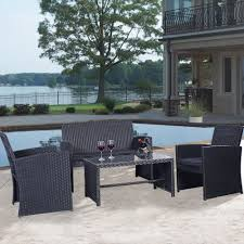 Ebay Patio Furniture Sets - black rattan 4 pcs cushioned outdoor wicker patio set garden lawn