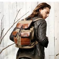 Rugged Leather Backpack Deluxe Leather And Canvas Backpack For Men Day Tripper Rucksack