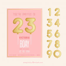 text birthday card happy birthday card with balloon numbers in flat style vector