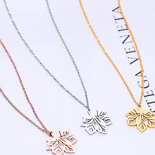 leaf charm necklace images 2017 rose gold stainless hollow maple leaf pendant necklace jpg