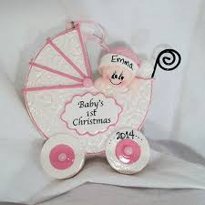 christmas ornaments baby baby s christmas ornament pink buggy