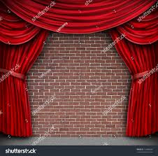 Rustic Curtains And Drapes Red Curtains Velvet Drapes On Old Stock Illustration 110088836