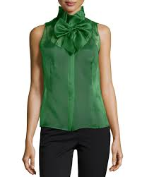 green silk blouse lyst lafayette 148 york silk bow front sleeveless blouse in