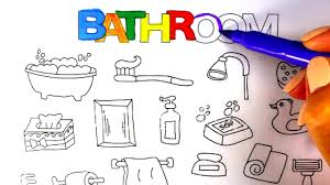 Bathroom Sets For Kids How To Draw Bathroom Tools How To Draw Bathroom Set For Kids