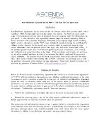 Non Disclosure Statement Template by Nondisclosure Agreements Notes And Template