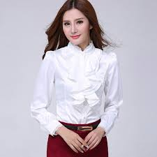 ruffle blouse 2016 big size silk satin blouse formal blouses office