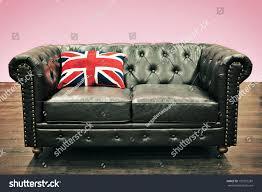 Blue Union Jack Cushion Black Chesterfield Couch Union Jack Cushion Stock Photo 135291287