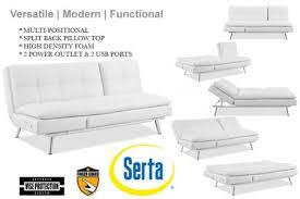 white leather futon sofa bed palermo serta euro lounger the