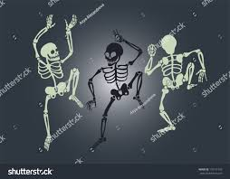 Dancing Halloween Skeleton by Vector Halloween Illustration Three Dancing Skeletons Stock Vector