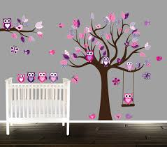 Purple Wall Decals For Nursery Floral Pink And Purple Owl Wall Decal Nursery Tree Decals For