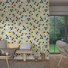 papiers peints 4 murs chambre intissé triangle wood coloris multicolore écru papier peint 4murs