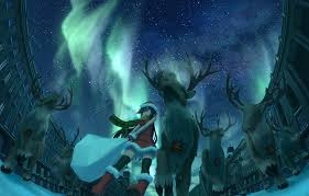 wallpaper holiday art winter anime deer the city night