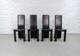 Italian Leather Dining Chairs Set Of 4 Mid Century Black Sadle Leather High Back Dining Chairs