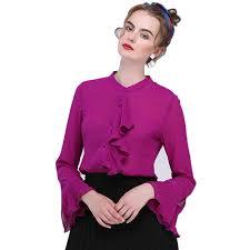 purple blouse plus size 2018 s summer flare sleeve solid color purple