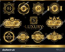 set luxury golden badges stickers royal stock vector 351937154
