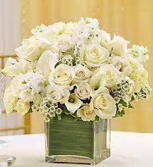 white flower centerpieces all white cube flower arrangement in boston ma central square