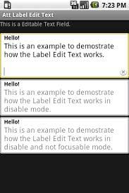 android label text fields for android at t developer