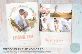 wedding photo thank you cards aw014 wedding thank you card card templates creative market