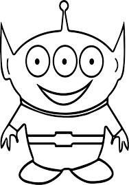 three eye cute alien coloring page wecoloringpage