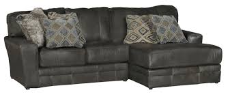Leather Match Upholstery Casual Classic Steel Gray Leather Match 4 Piece Sectional Denali