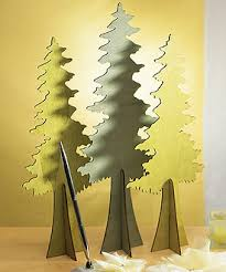 wooden die cut trees with birds silhouette set of 2 assorted