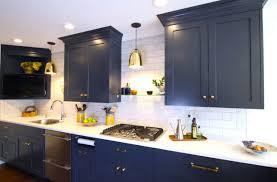 white kitchen cabinets with blue subway tile 75 beautiful kitchen with blue cabinets and subway tile