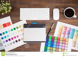 Graphic Designer Desk Office Desk Of A Graphic Designer Stock Image Image 66867021