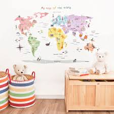 World Map Decal by Map Of The World Wall Decals Jojo Maman Bebe