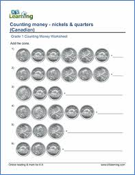 grade 1 math worksheet counting money nickels and quarters