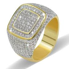 rings pave images Classic iced out micro pave square rings gold diamond jewelry jpg