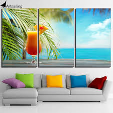 online get cheap 3 piece canvas wall art tropical aliexpress com hd printed 3 piece canvas art fruit drink painting tropical beach seascape wall pictures for living
