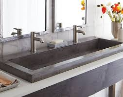 trough sink two faucets perfect grey textured trough bathroom sink with two faucets and