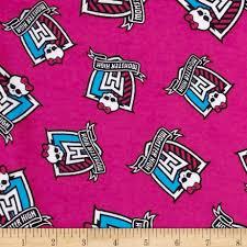 Halloween Flannel Fabric Monster High Flannel Crest Toss Monster Pink Discount Designer