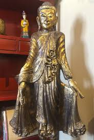 5ft antique burmese mandalay standing buddha statue gold gilded