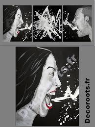 tableau portrait noir et blanc tableau design contemporain noir et blanc multicolore