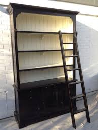 furniture home white library bookcase with ladderbookcase with